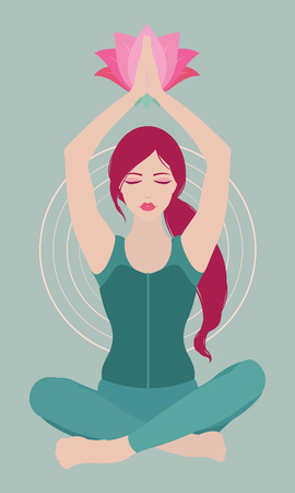 Illustration of a woman with closed eyes meditating in yoga lotus pose with a flower above on colored background Illustration