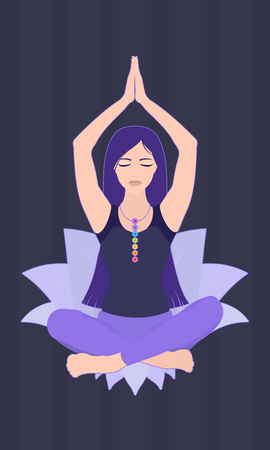 Illustration of a woman with closed eyes and hands up meditating in yoga lotus pose with colorful chakras on her neck on purple background Illustration