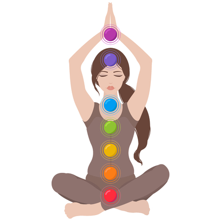 Illustration of a woman with closed eyes and hands up meditating in yoga lotus pose with colorful chakras on white background