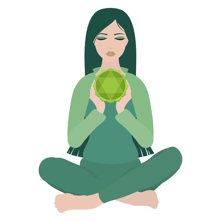 Illustration of a woman with closed eyes meditating in yoga lotus pose with heart chakra in the middle on white background Illustration