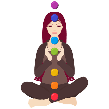 Illustration of a woman with closed eyes meditating in yoga lotus pose with colorful chakras on white background
