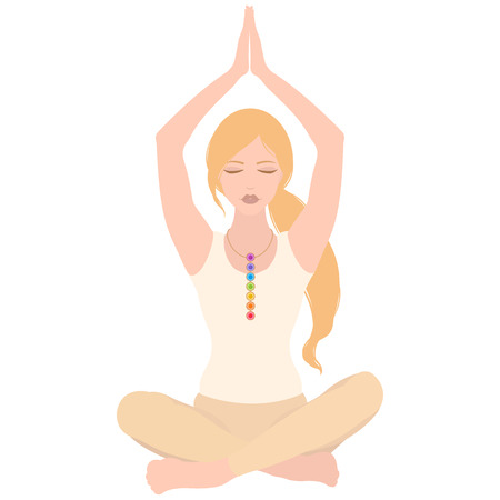 Illustration of a woman with closed eyes and hands up meditating in yoga lotus pose with colorful chakras on her neck on white background