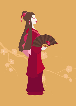 Illustration of a young Japanese woman dressed as a Geisha and holding a decorated fan on yellow background with sakura flowers