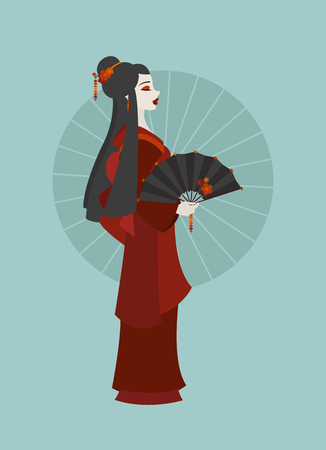 Illustration of a young Japanese woman dressed as a Geisha and holding a decorated fan on colored background Banque d'images - 104774603