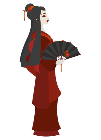 Colorful illustration of a young Japanese woman dressed as a Geisha and holding a decorated fan on white background Illustration