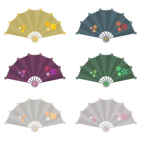 Set of six colorful folding fan vector with flower decoration isolated on white background Illustration