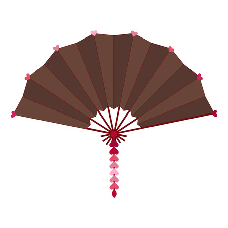 Dark colored folding fan vector isolated on white background Illustration