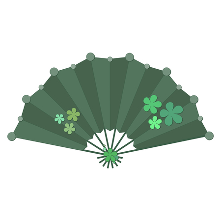 Green colored folding fan vector with flower decoration isolated on white background