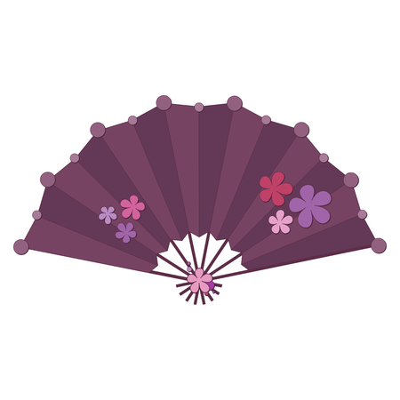 Purple colored folding fan vector with flower decoration isolated on white background