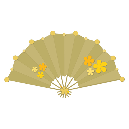 Yellow colored folding fan vector with flower decoration isolated on white background