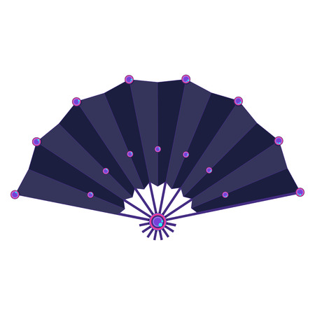 Purple colored decorated folding fan vector isolated on white background