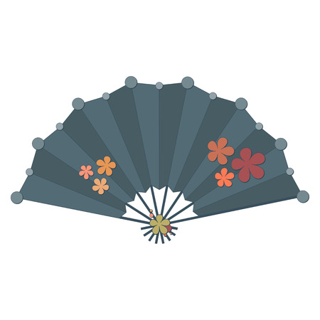 Colorful folding fan vector with flower decoration isolated on white background