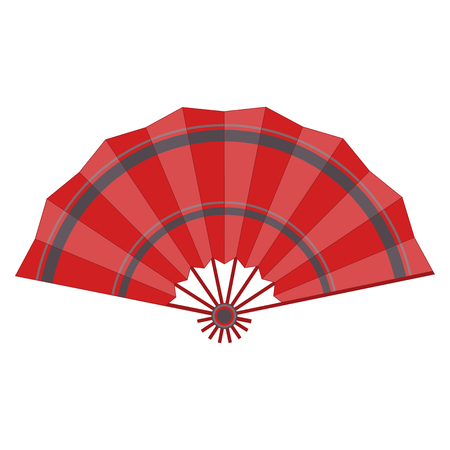 Red colored folding fan vector isolated on white background