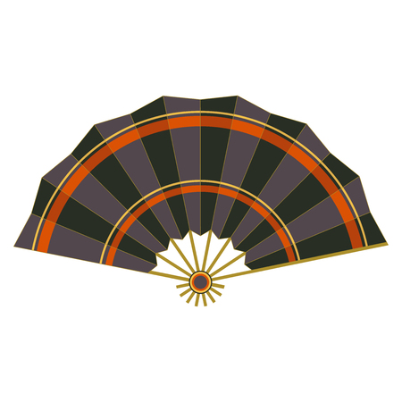 Colorful folding fan vector isolated on white background