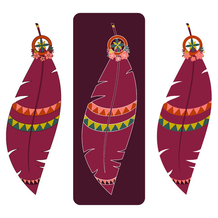 Set of three vector illustrations of boho feathers in red tones with various outlines Illustration