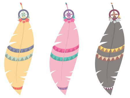 Set of three vector illustrations of multicolored boho feathers isolated on white background Illustration