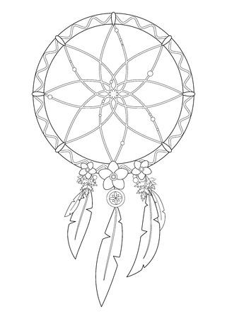 Ilustración de vector de contorno de atrapasueños boho aislado sobre fondo blanco. Útil para colorear páginas y libros.