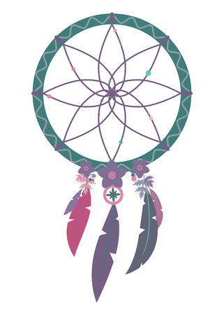 Vector illustration of multicolored boho dreamcatcher isolated on white background