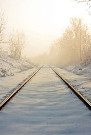 Train tracks in winter photo