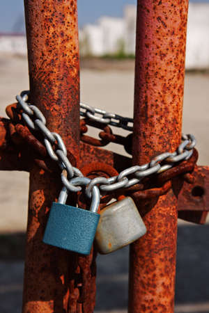 Closeup of two padlocks Stock Photo - 9078436