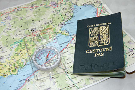 Czech passport on a map of Hungary