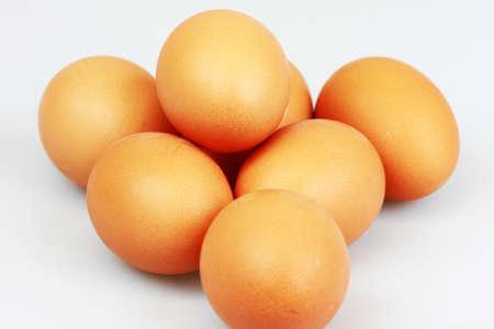 Pile of eggs on white background Stock Photo - 10761625