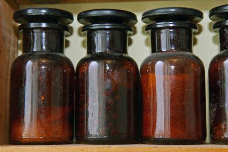 Laboratory bottles Stock Photo