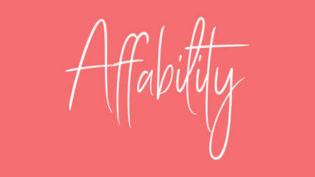 Affability, Calligraphy signature font, girly pinky background, Quote Concept Stock fotó