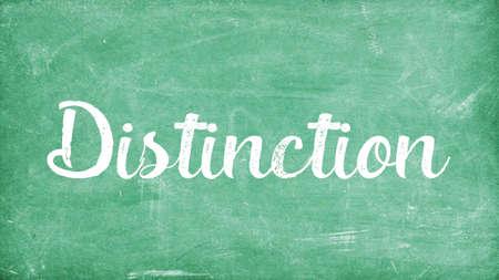 Distinction Word Concept, Blackboard Chalk background Concept Design Stock Photo