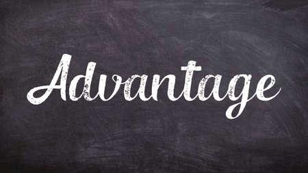 Advantage Word Concept, Blackboard Chalk background Concept Design Imagens