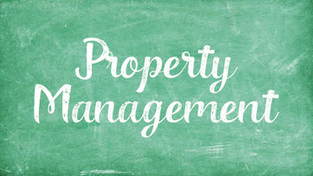 Property Management Word Concept, Blackboard Chalk background Concept Design Stock Photo