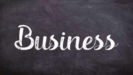 Business Word Concept, Blackboard Chalk background Concept Design