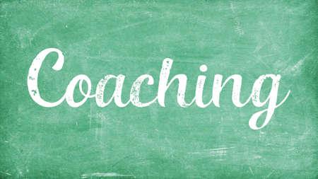 Coaching Word Concept, Blackboard Chalk background Concept Design Stock Photo