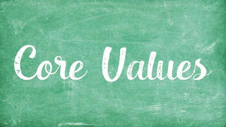 Core Values Word Concept, Blackboard Chalk background Concept Design