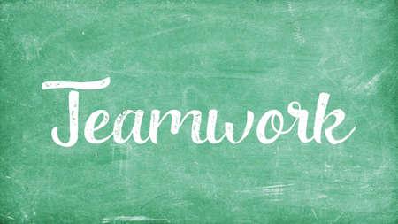 Teamwork Word Concept, Blackboard Chalk background Concept Design Stock Photo