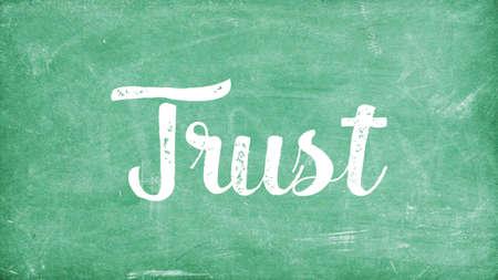 Trust Word Concept, Blackboard Chalk background Concept Design Stock Photo