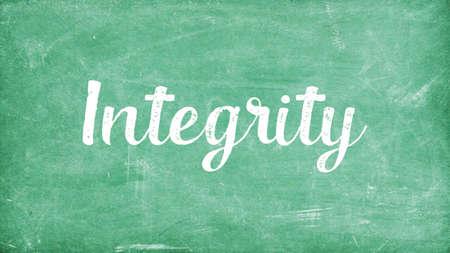 Integrity Word Concept, Blackboard Chalk background Concept Design Stock Photo