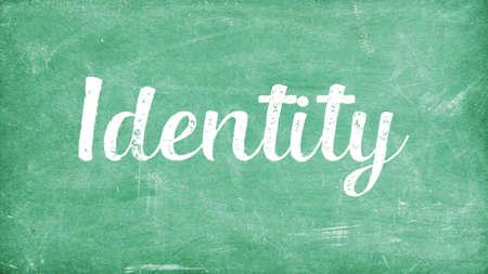 Identity Word Concept, Blackboard Chalk background Concept Design