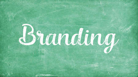 Branding Word Concept, Blackboard Chalk background Concept Design