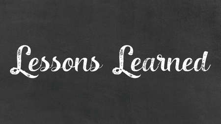 Lessons Learned Concept, Blackboard Chalk background Concept Design Foto de archivo