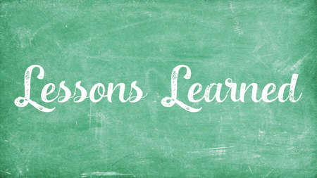 Lessons Learned Concept, Blackboard Chalk background Concept Design Stock Photo