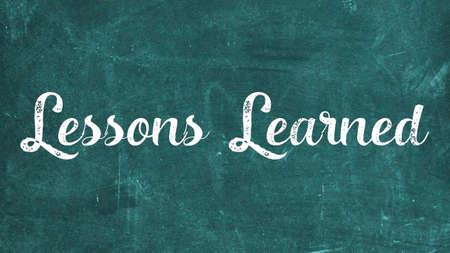 Lessons Learned Concept, Blackboard Chalk background Concept Design Banque d'images