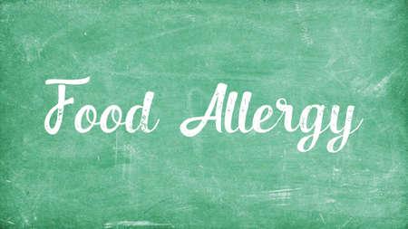Food Allergy Concept, Blackboard Chalk background Concept Design Stock Photo