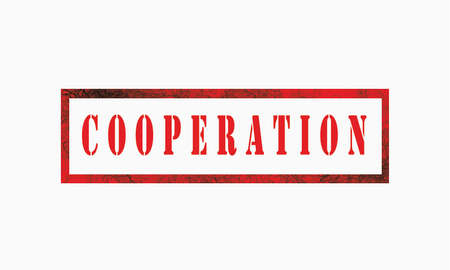 cooperation, grunge rubber stamp isolated on white background, grunge text rubber stamp, grunge rubber stamp background Concept Design