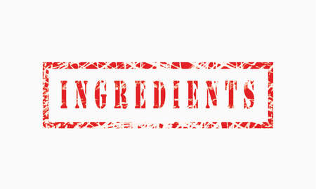 Ingredients grunge rubber stamp isolated on white background, grunge text rubber stamp, grunge rubber stamp background Concept Design Archivio Fotografico