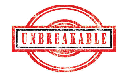 unbreakable, grunge rubber stamp isolated on white background, grunge text rubber stamp, grunge rubber stamp background Concept Design Foto de archivo