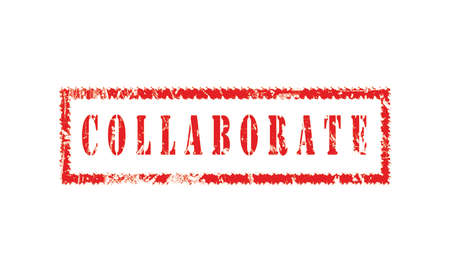 collaborate, grunge rubber stamp isolated on white background, grunge text rubber stamp, grunge rubber stamp background Concept Design Stock Photo