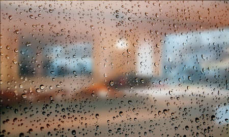 Background with rain drops close up. Rain drops on outdoor window, Closeup view transparent water drops on glass surface, humid water backdrop, blurred background with copy space for your text