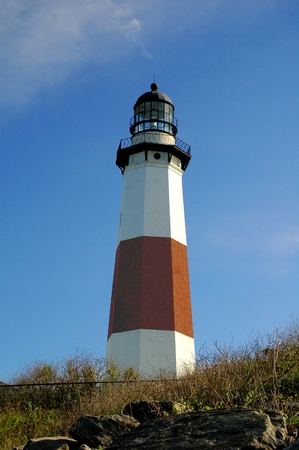 red bluff: Montauk Lighthouse Stock Photo