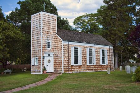 18th: 18th century wood shingled church with burial ground